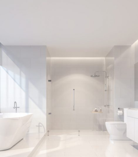 Modern luxury white bathroom 3d render. There are white tile wall and floor.The room has large windows. The sun is shining to inside.
