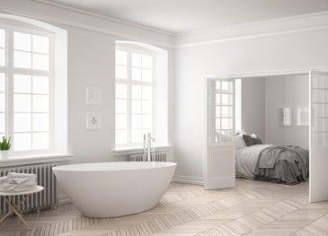 Minimalist scandinavian white bathroom with bedroom in the background, classic interior design